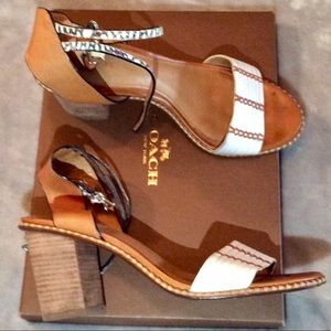 Mint condition COACH PEXTON block heels. IN BOX
